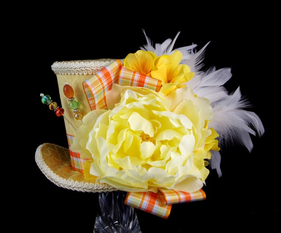 Yellow, Orange, and Cream Flower and Plaid Large Mini Top Hat Fascinator, Alice in Wonderland, Mad Hatter Tea Party, Derby Hat, Spring Hat