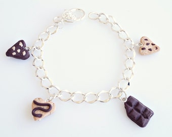 Polymer Clay Biscuits and Chocolate Bracelet, Cookies Bracelet, Cookies Charm, Biscuits Jewelry, Chocolate Bars, Chocolate Jewelry