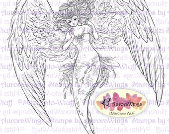 Digital Stamp - Guardian of the Sea - Elegant Winged Mermaid - Mer Angel - Mermaid Angel - digistamp - Fantasy Line Art for Cards & Crafts