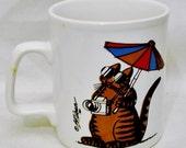 Tourist Cat MUG Signed by B. Kliban 1980 Kiln Craft Staffordshire Pottery English Ironstone-Made in England
