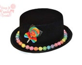 Custom Childrens Candy Covered Hat, Candy Top Hat, Child Top Hat, Candy Wedding, Lollipop ring bearer, Candy Halloween Costume Ideas