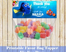 Finding Dory favor bag topper, finding Dory birthday, finding Dory printable favor bag topper candies, finding Dory birthday party