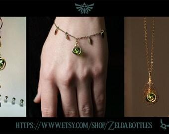 ZELDA Kokiri's Emerald earrings, bracelet, necklace