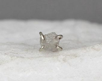 14K White Gold Single Raw Uncut Diamond Stud Earring - Rough Diamond Stud Earring for Men - Made in Canada