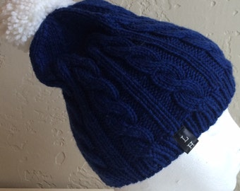 Handknit Cable Hat with White Pompom