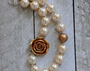 pearl gold bubblegum necklace cream and gold chunky bead necklace toddler girl birthday formal Christmas necklace rose flower necklace