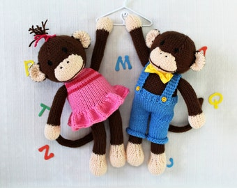 Knitting pattern for toy. Cuties. Two little monkeys. PDF instant download knitting pattern. NEW
