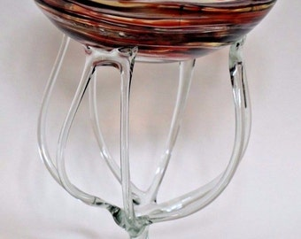 Stunning Birds Nest Hand Blown Glass Center piece Large Tall Bowl Thick Heavy