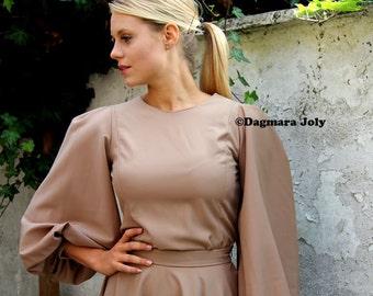 Balloon sleeves brown blouse, puff sleeve blouse, oversized blouse, puff sleeve blouse, womens blouses,