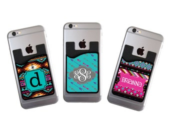 Monogrammed Personalized Cell Phone Card Caddy Tribal Phone Wallet Card Holder Monogram Gifts Custom Aztec ID Credit Card iPhone Samsung