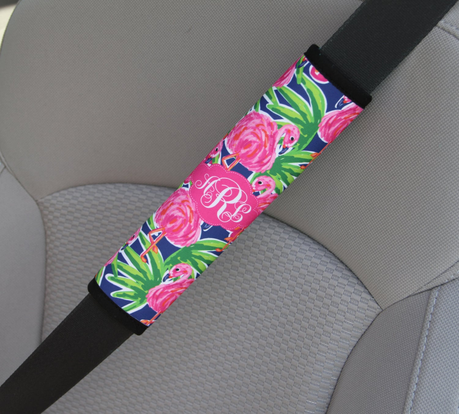Monogrammed Seat Belt Cover Personalized Custom Preppy