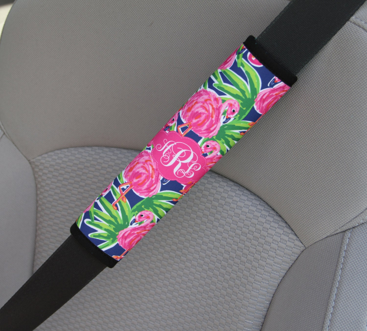 Monogrammed Seat Belt Cover  Personalized Custom Preppy Lilly Inspired Cute  Car Accessories for Women Seatbelt Cover Seat Belt Pad Flamingo. Monogrammed Seat Belt Cover  Personalized Custom Preppy Lilly