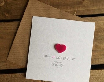 Happy 1st Mother's Day from your Little Boy Card with Pink detachable Heart magnet keepsake
