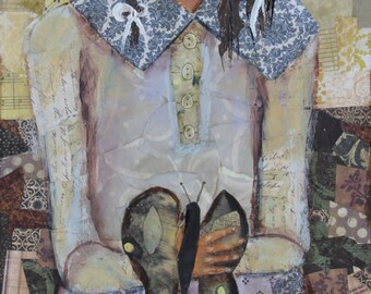 """Rustic original mixed media painting """"Butterfly Blessing"""" on cedar board ready-to-hang art, folk art, art on wood, girl painting, young girl"""