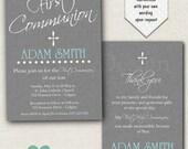 Boy First Communion Invitation - Grey 1st Communion Invitation - Printable