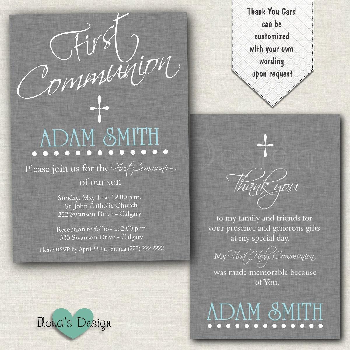Boy First Communion Invitation Grey 1st Communion Invitation