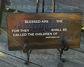 Thin Blue Line, Police Officer Gift, Blue, Police Gift, Wooden Sign, Police Family, Cop,Matthew 5:9, Law Enforcement, Badge,Law Enforcement