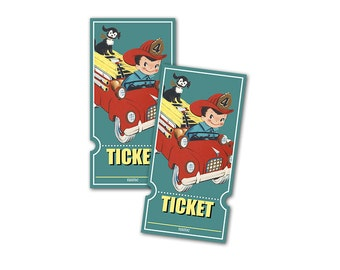 Retro fire engine raffle tickets / printable raffle tickets / vintage boy, fire truck, firefighter / for birthdays, baby showers, parties