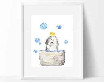 "Old English Sheepdog Watercolour ""Bath Time"""