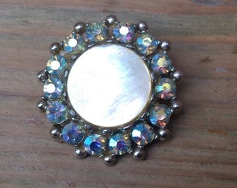 Vintage mother of pearl and rhinestone brooch