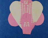 Antique Woven Cut Paper Valentine, Scherenschnitte Love Token, Heart in Hand, 4 Layers