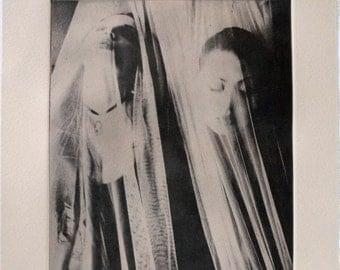 Dreamy Photograph, Black and White Photo, Photography Print, Photopolymer Printmaking Print, Female Portrait Photography, Creative Portrait
