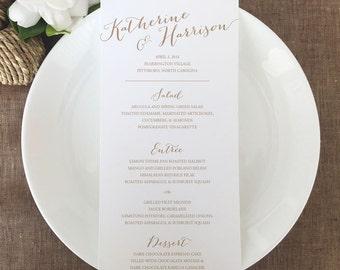 Modern Wedding Menu Cards, Calligraphy Wedding Menu Cards, Script Menus, Rehearsal Dinner Menus, Handwritten Menus, Reception Menu Cards