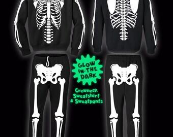 Full Skeleton Halloween Costume Sweatshirt and Sweatpants and Glows!
