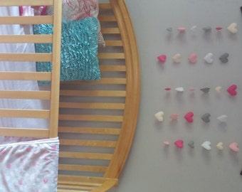 Felt Heart Nursery Wall Art
