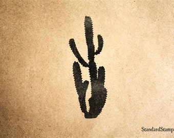 Tall Cactus Rubber Stamp - 2 x 2 inches