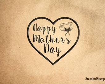 Happy Mothers Day Rubber Stamp - 2 x 2 inches