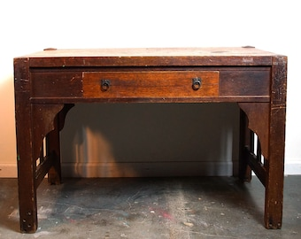 Antique Mission Library Table / Arts & Crafts Solid Wood Desk or Entry Table / Handmade Craftsman Work Table / Distressed Weathered