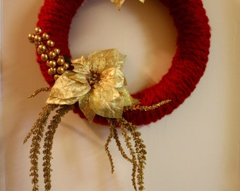 """14"""" Finger-Knit Red and Gold Christmas Wreath"""