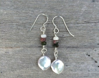 Mother of pearl and natural stone earrings