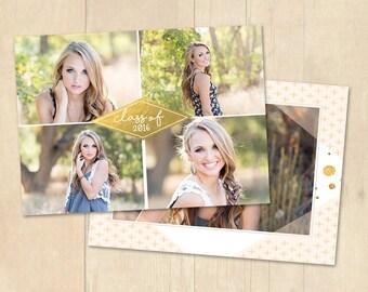 INSTANT DOWNLOAD 5x7 Graduation Announcement Card Photoshop Template - CA653