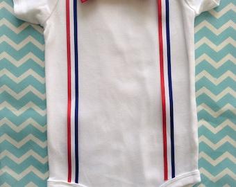 Red, White & Blue Bow Tie Onesie
