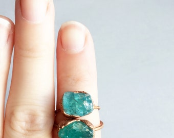 Blue Raw Stone Ring | Raw Crystal Ring | Copper Ring | Raw Apatite Copper Ring | Electroformed Ring | Bohemian Ring | Gift for Women