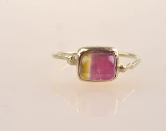 Watermelon tourmaline ring, 14ct gold, Roman ring