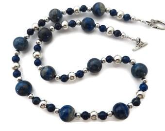 Blue Necklace, Navy Necklace, Lapis Lazuli Necklace, Blue Stone Necklace, Chunky Blue Gemstone, Cobalt Necklace, Southwest Necklace, Lapis