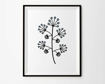 Dandelion Print, 5 x 7 in, 8 x 10 in, 11 x 14 in, Dandelion Wall Art, Flower Print, Blue Print, Flower Art Poster, Printable Art