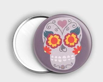 Sugar Skull Pocket Mirror - Cute Cometic Mirror - Skull Mirror - Day Of The Dead - Sugar Skull