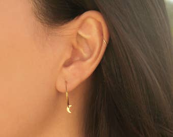 Moon Hoop Earrings - MAIVE by Seoul Little - M3502