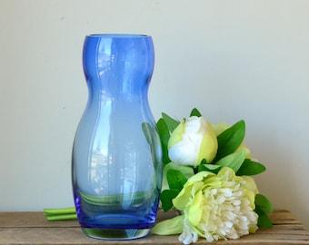 Turkish Hourglass Light Blue Glass Vase