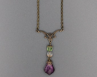 Suffragette inspired Antique Gold necklace.