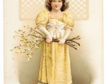 Girl with Kittens Easter Postcard, 1916