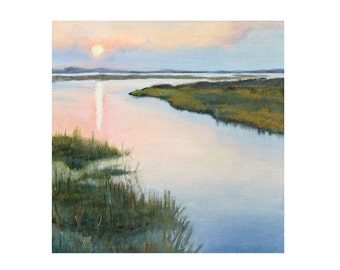 FREESHIPPING Seascape original painting  7,87 x 7,87 inch (0,1 inch thick) oil on canvas panel