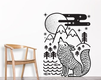 Sticker mural loup etsy for Decoration murale loup