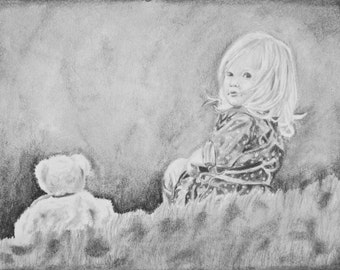 Custom Portrait - Sketch from your Photo - Black and White Portrait - Pencil Drawing - Child Portrait - Custom Drawing - Earth Child Art