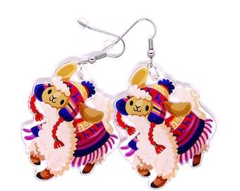 Cute Llama Earrings, cute alpaca earrings, kawaii alpaca, llama art, alpaca gift, llama gift, animal jewelry