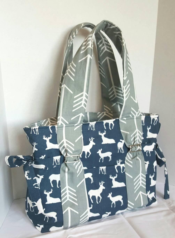 boy deer diaper bag large arrow diaper bag navy deer with. Black Bedroom Furniture Sets. Home Design Ideas
